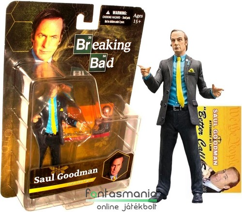 18cm-es Better Call Saul / Breaking Bad - Saul Goodman / Jimmy ügyvéd figura hátlapos csomagolás névjeggyel - Totál Szívás gyűjtői TV Sorozat figura - Mezco