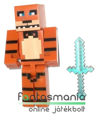 Minecraft figura - 5-6cmes Five Nights At Freddys Freddy maci custom player skin megjelenésű mozgatható minifigura + kezébe adható kiegészítő, csom. nélkül
