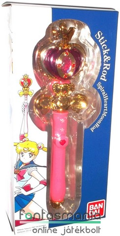 15cmes Sailor Moon / Holdtündér varázspálca - Spiral Heart Moon Rod replika - Bandai Stick & Rod Collection Anime / Manga cosplay kellék