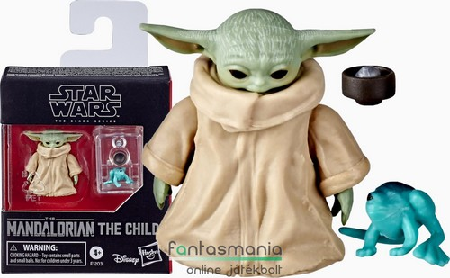 Star Wars figura 16-18cm méretarányos 3cm Black Series The Mandalorian The Child / Baby Yoda figura levesestállal és Sorgan frog békával - mozgatható Csillagok Háborúja figura - Készleten!
