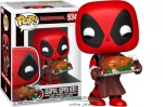 10cmes Funko POP Marvel Deadpool figura sültcsirkével - POP 534 Holiday Marvel Deadpool Super Hero karikatúra figura
