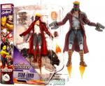18cmes Marvel Galaxis Őrzői Star-Lord / Starlord figura - extra-mozgatható Guardians of the Galaxy Űrlord fegyverekkel, cserélhető fejjel és kétféle talapzattal Diamond Select
