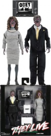 16-18cmes John Carpenter's They Live horror figura - NECA Clothed Alien 2 Pack figura szett - szövetruhás Horror figurák kiegészítőkkel és mozgatható végtagokkal