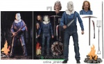 18cm-es Friday the 13th Pt 2 Jason figura - Ultimate NECA Péntek13 zsákos fejű Jason tábortűzzel, Pamela Vorhees fejjel és rengeteg fegyverrel - extra-mozgatható Horror figura - Készleten!